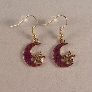 Gold Purple Star Moon Earrings Hypoallergenic Hook